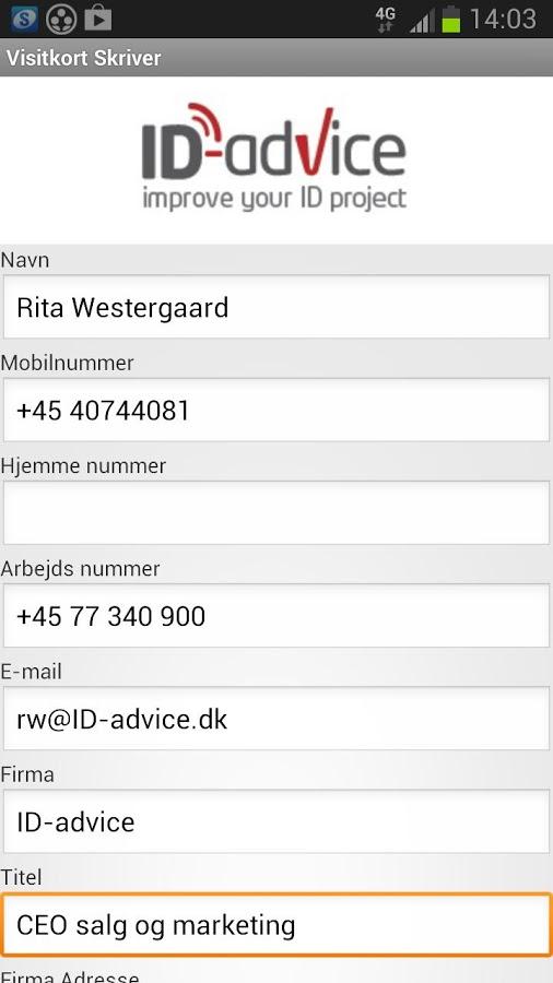 NFC visitkort kontaktoplysninger overfør